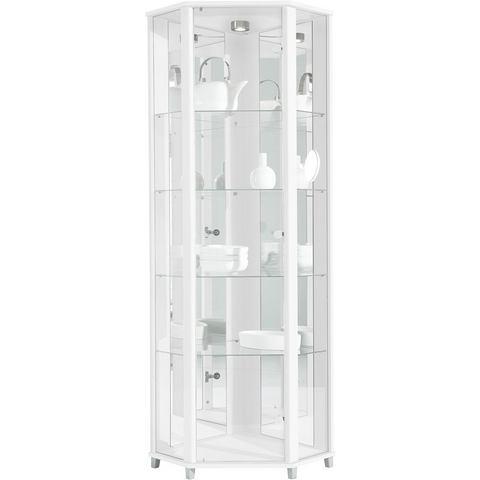 Hoekkast hoogte 172 cm 4 glasplateaus wit vitrinekast 370