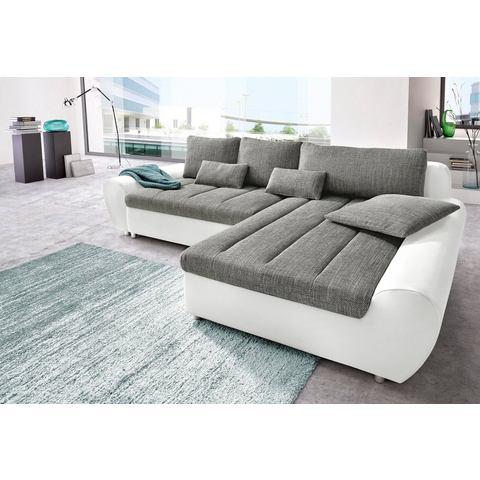 Hoekbank Sit&more Luxe imitatieleer structuurstof grijs 666209