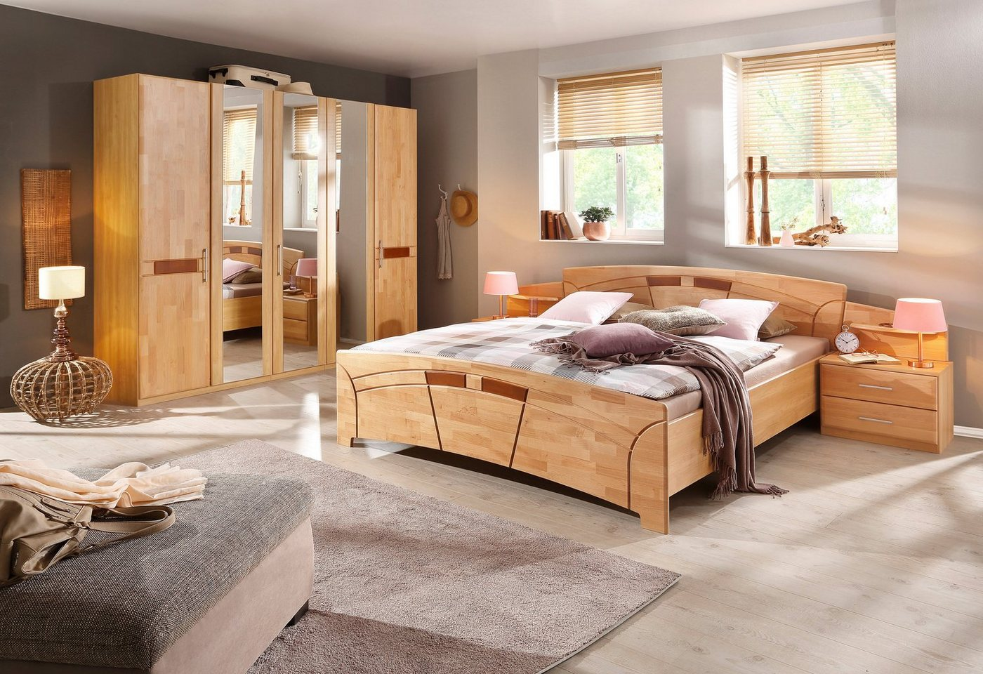 HOME AFFAIRE slaapkamermeubelen in 4-delige set Sarah, met ledikant 180x200 en 5- of 6-deurs kast