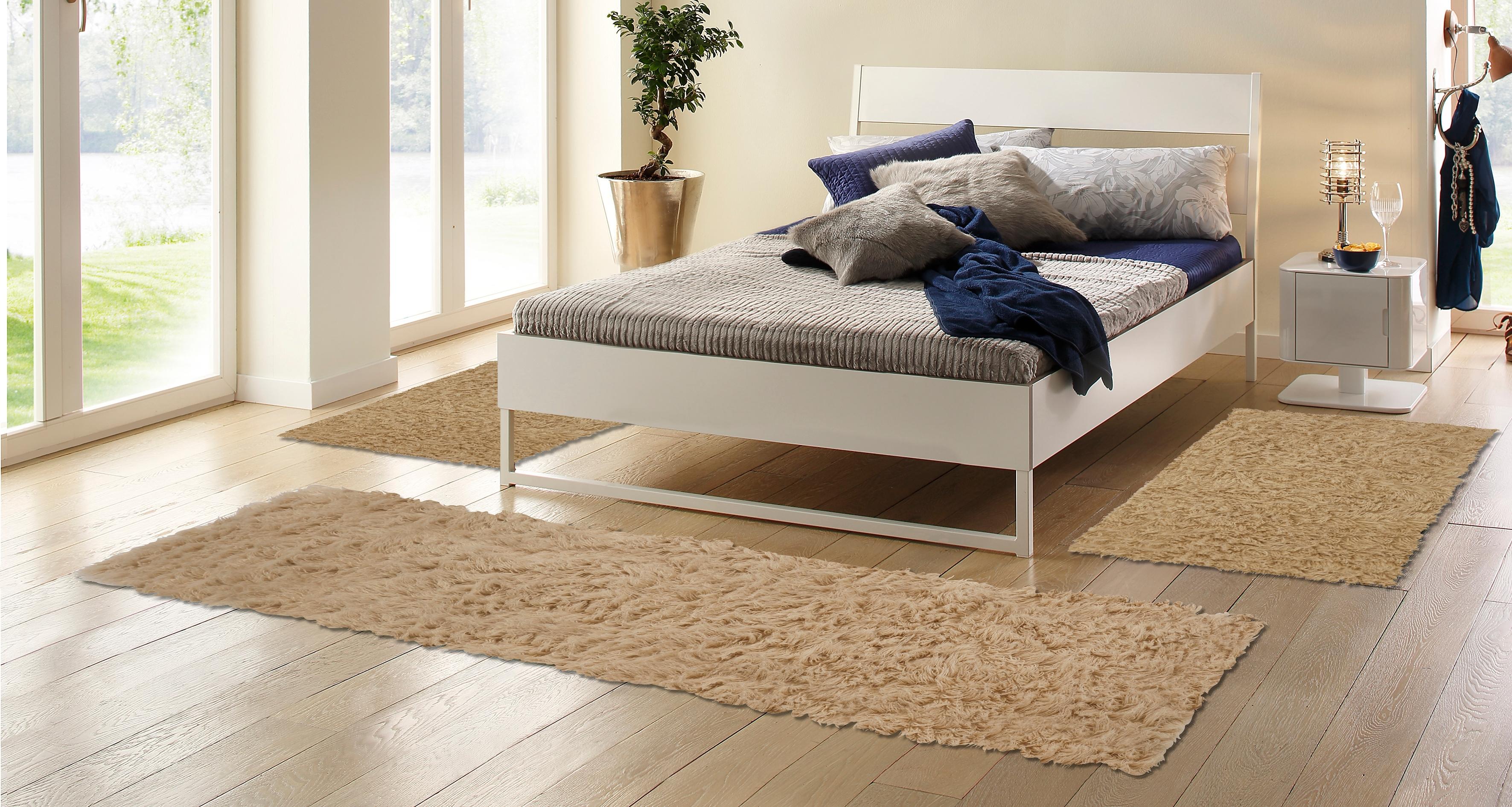 Böing Carpet set slaapkamerkleedjes Flokati 1500 g Slaapkamerkleed, loper-set voor de slaapkamer, zuivere wol, met de hand geweven goedkoop op otto.nl kopen