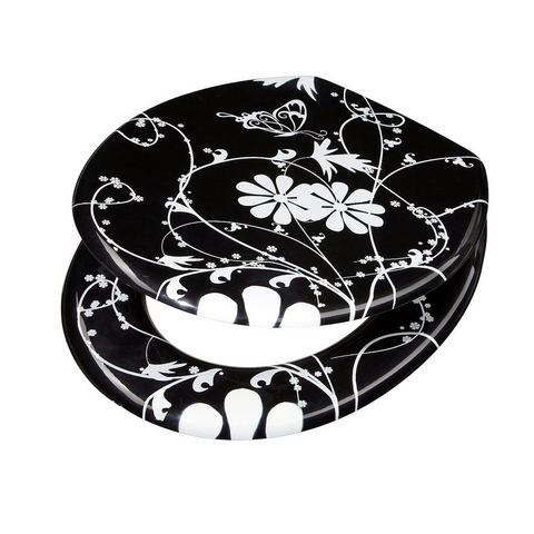 Badkameraccessoires Toiletzitting White Flower 283684 zwart