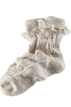 folklore-sokken dames met fijne kant beige