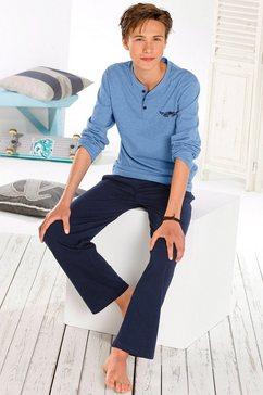 arizona pyjama in lang model met logoprint blauw