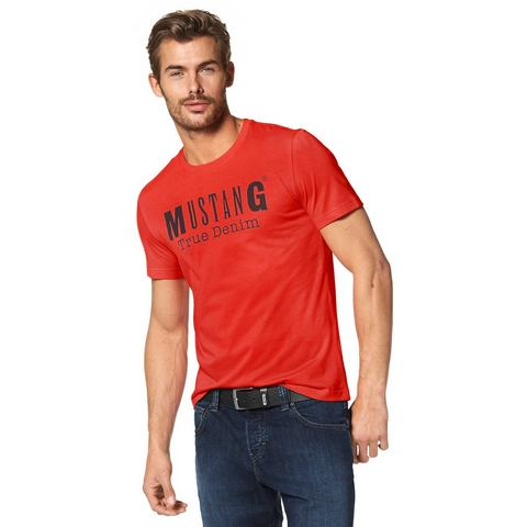 MUSTANG T-shirt met ronde hals en print voor
