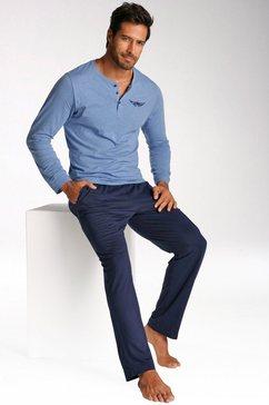 arizona pyjama, in lang model, shirt met knoopsluiting en logoprint op borsthoogte blauw