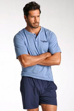 arizona shortama, in kort model, shirt met knoopsluiting en logoprint op borsthoogte blauw