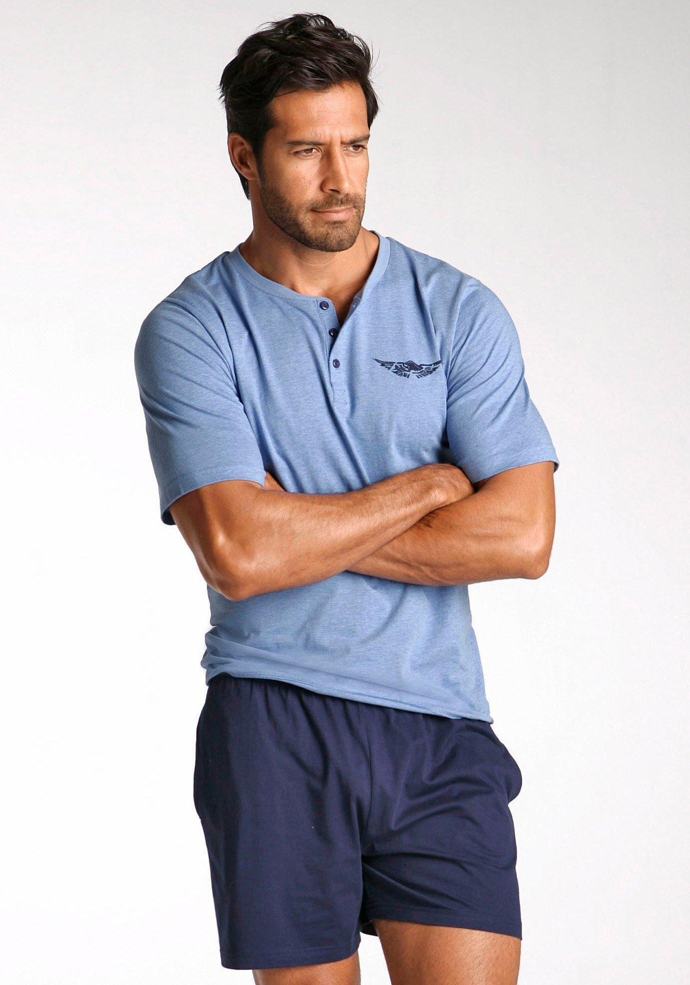 ARIZONA shortama, in kort model, shirt met knoopsluiting en logoprint op borsthoogte voordelig en veilig online kopen