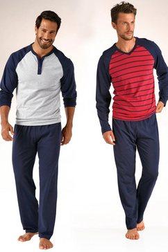 le jogger pyjama (set van 2), in lang model, met raglanmouwen, van puur katoen multicolor