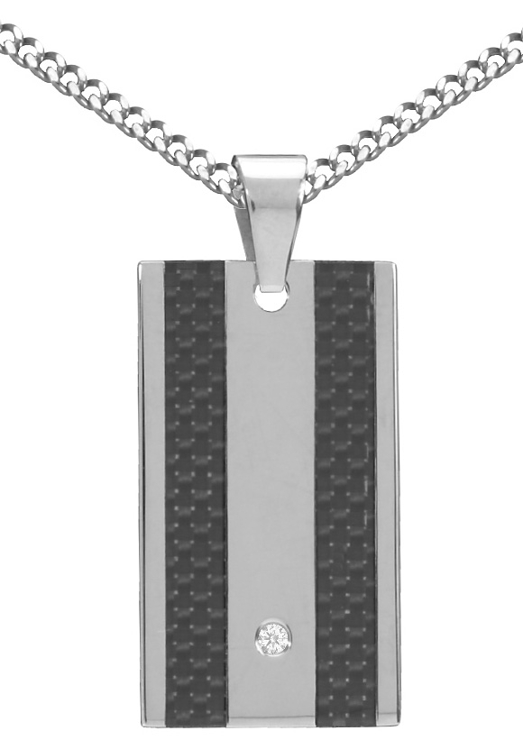 Firetti ketting met hanger met carbon-inlay en zirkoon bestellen: 30 dagen bedenktijd