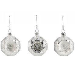 thueringer glasdesign set: tgs-kerstboomdecoratie medaillons, »ijsprinses« (6-dlg.) zilver