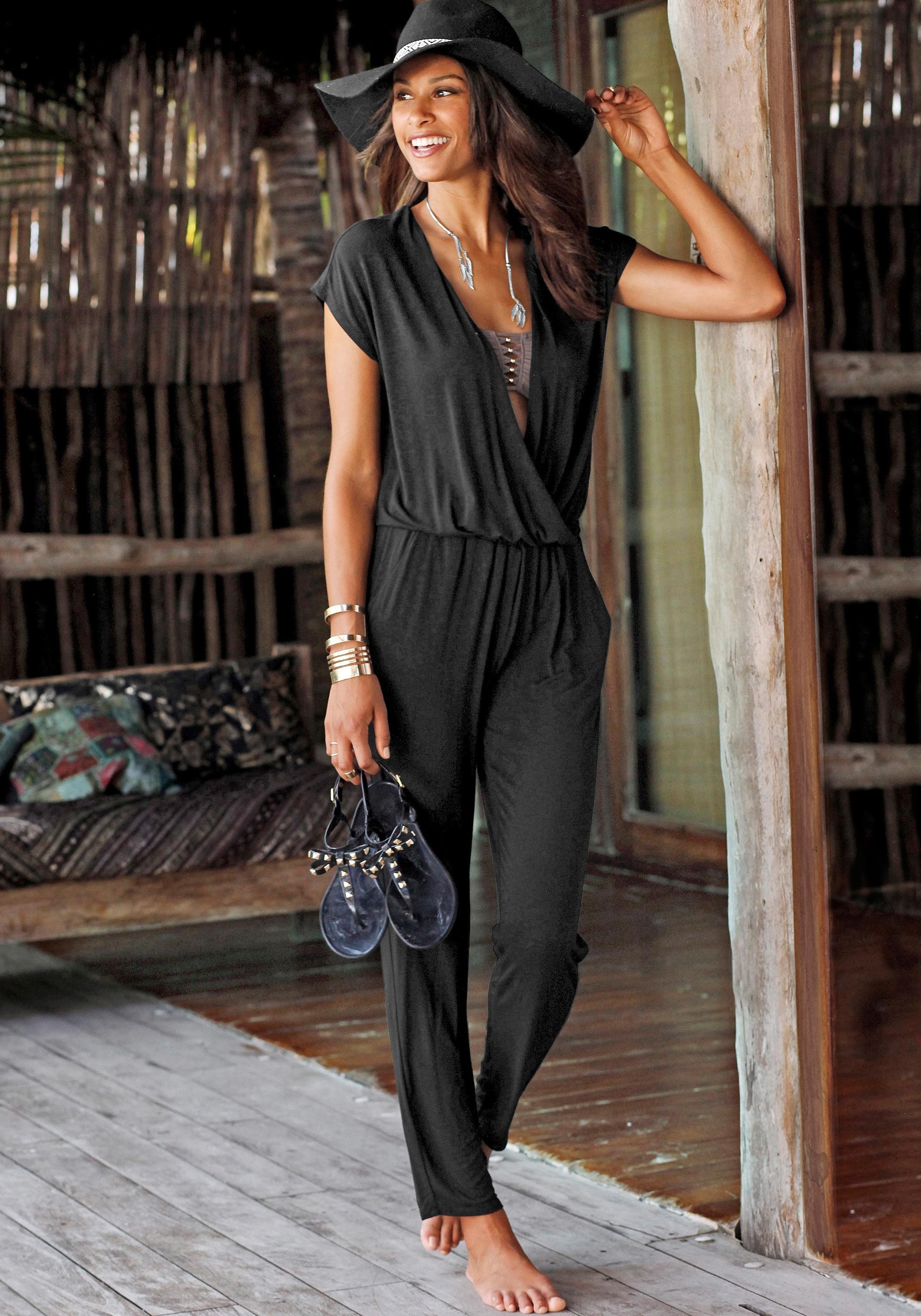 Lascana Strand-jumpsuit in wikkel-look voordelig en veilig online kopen