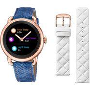 festina smartwatch smartime, f50001-1 (set, 3-delig, met verwisselbare band van wit leer en oplaadbasis) blauw