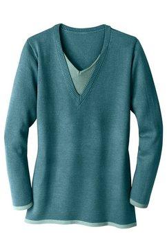 trui met contrastkleurige v-hals blauw