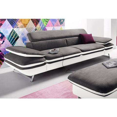 woonkamer driepersoons bankstel wit SOFTLUX imitatieleer luxe microgaren COTTA met verstelbare armleuningen