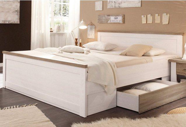 Bed met lade in pijnboomkleur-wit