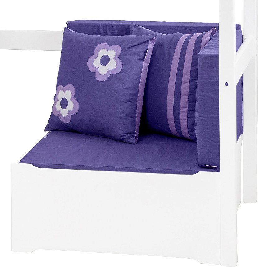 HOPPEKIDS Slaapbank Purple Flower uittrekbaar