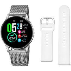 lotus smartwatch smartime, 50000-1 (3-delig, met wisselband van zacht silicone en oplaadkabel) zilver