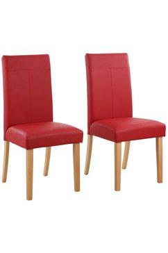 home affaire stoel robijn in set van 2, 4 of 6, met honingkleurige of donkerbruine poten (set) rood
