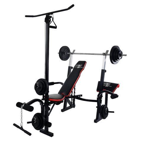 CHRISTOPEIT SPORT® halterbank, incl. 25 kg gewichtenset & lange-halterstang, »Power XL«