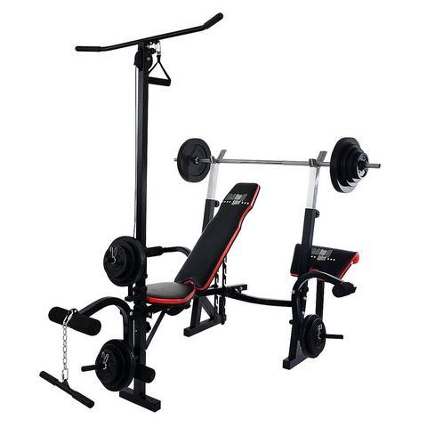 CHRISTOPEIT SPORT® halterbank, inclusief 38,5 kg gewichtenset & lange-halterstang »Power XL«