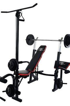 christopeit sport halterbank, inclusief 38,5 kg gewichtenset  lange-halterstang »power xl« zwart