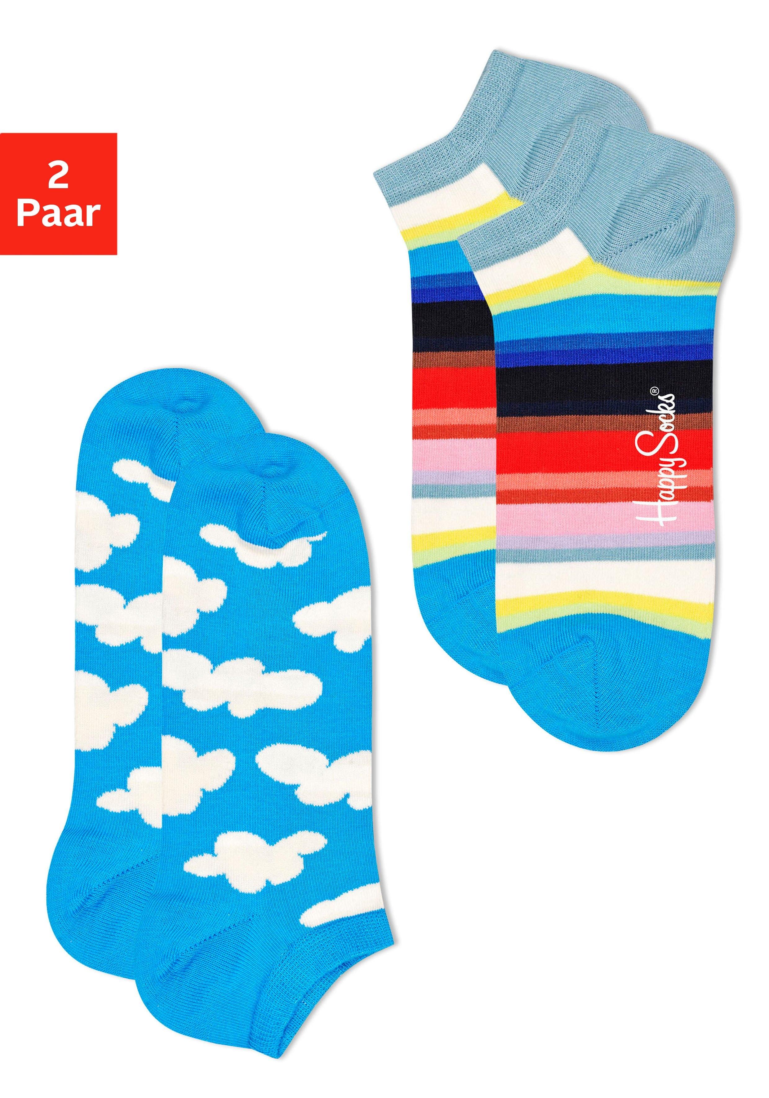 Happy Socks sneakersokken met wolken en streepdessin (2 paar) nu online bestellen