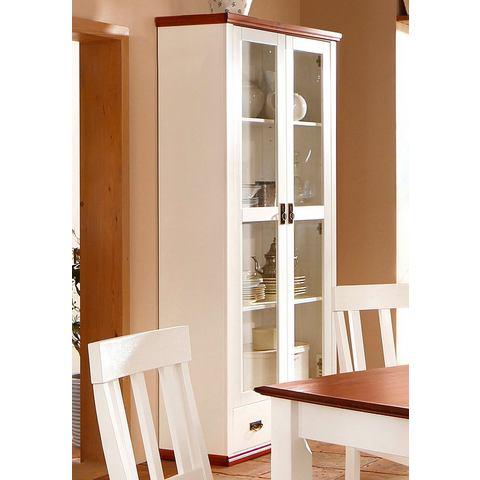 kast van massief FSC®-gecertificeerd hout wit kersenhoutkleur vitrinekast 197