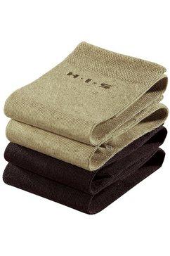 h.i.s sokken (set van 4 paar) met knelvrije boord beige