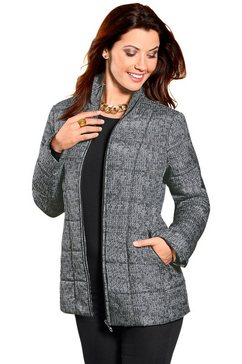 classic basics gewatteerde jas in tricot-look zwart