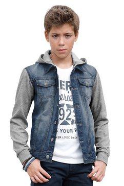 Jeans-jack met sweatmouwen en -capuchon