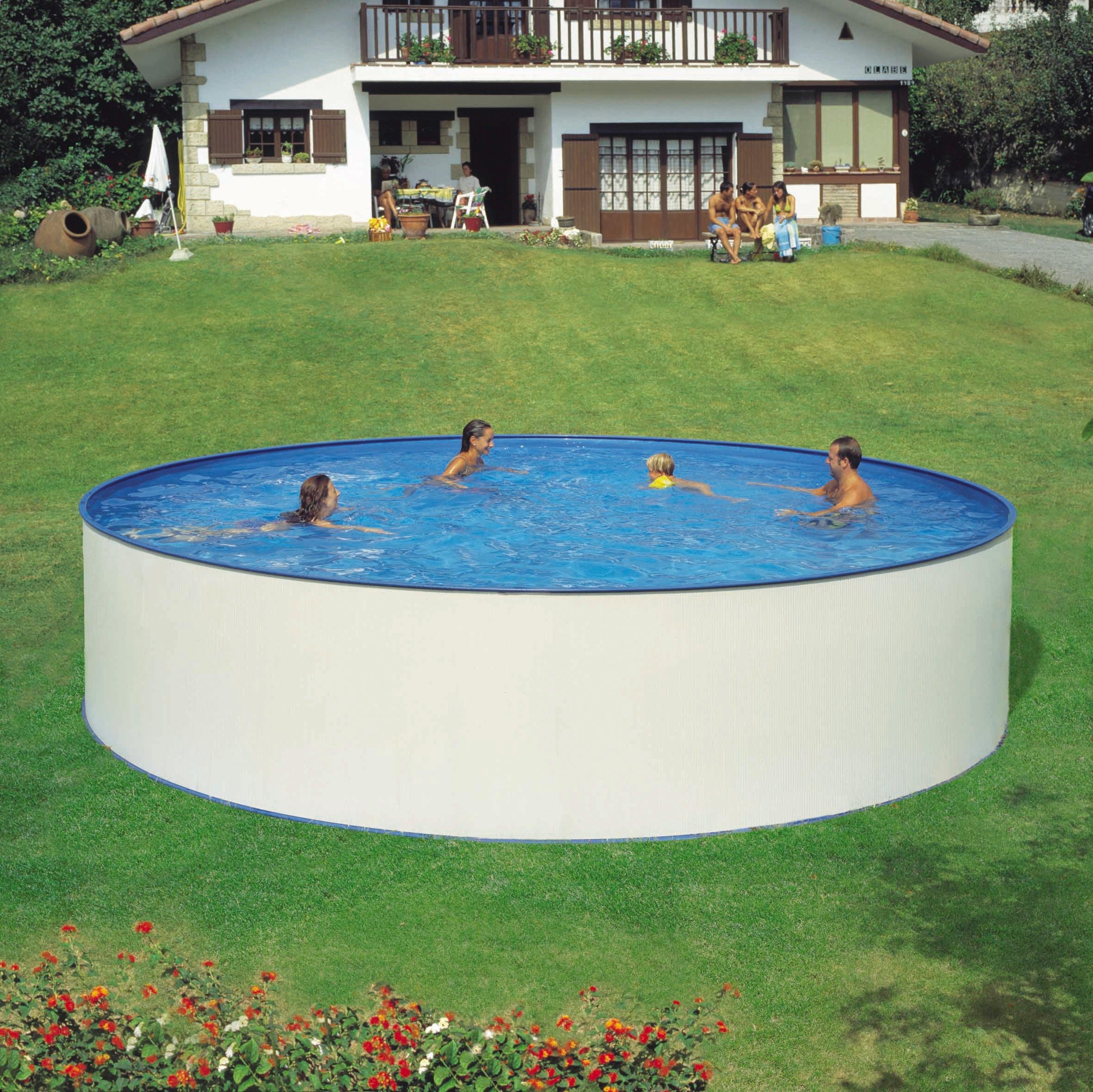 Hanseatic rond zwembad set rond zwembad met veiligheidstrap en filterinstallatie 3 m u 5 dlg - Rond het zwembad ...