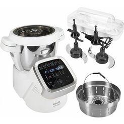 krups keukenmachine prep  cook hp5031, 4,5 liter, wit - grijs - geborsteld edelstaal, 1550 watt wit