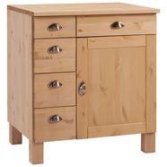 home affaire onderkast oslo 75 cm breed, 1 deur, 5 laden, van massief grenen, metalen grepen, landhuis-look beige