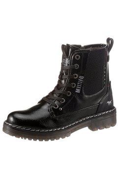 mustang shoes hoge veterschoenen met rits aan de binnenkant zwart