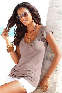 lascana shirt met v-hals met brede elastische tailleband bruin