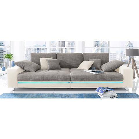 woonkamer extra groot bankstel grijs Megabank naar keuze met RGB LED verlichting 88