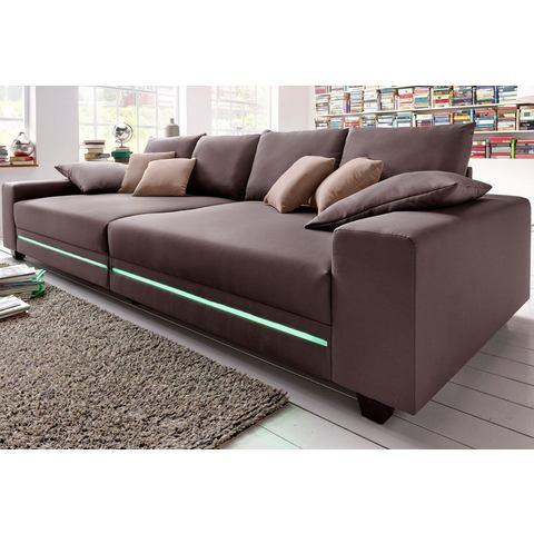 woonkamer extra groot bankstel bruin Megabank naar keuze met RGB LED verlichting 50