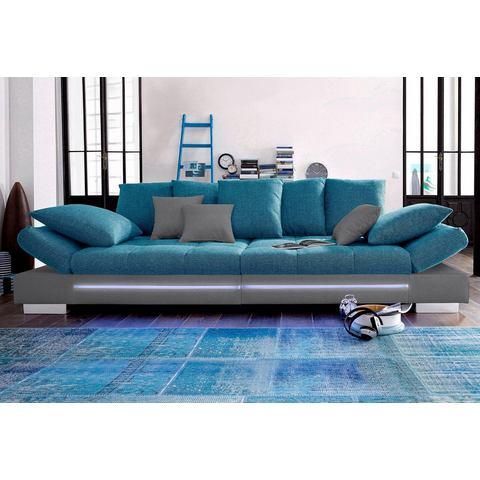 woonkamer extra groot bankstel grijs Megabank naar keuze RGB LED verlichting 64