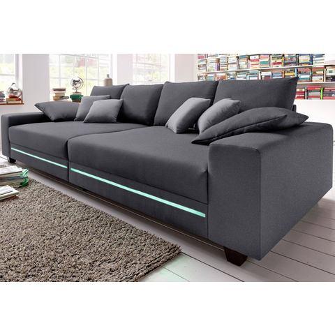 woonkamer extra groot bankstel grijs Megabank naar keuze met RGB LED verlichting 47