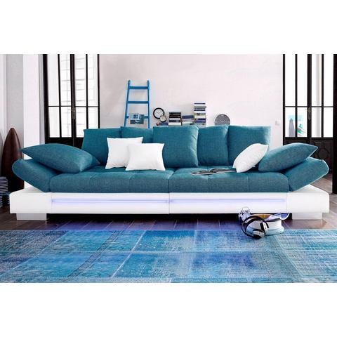 woonkamer extra groot bankstel wit Megabank naar keuze RGB LED verlichting 41