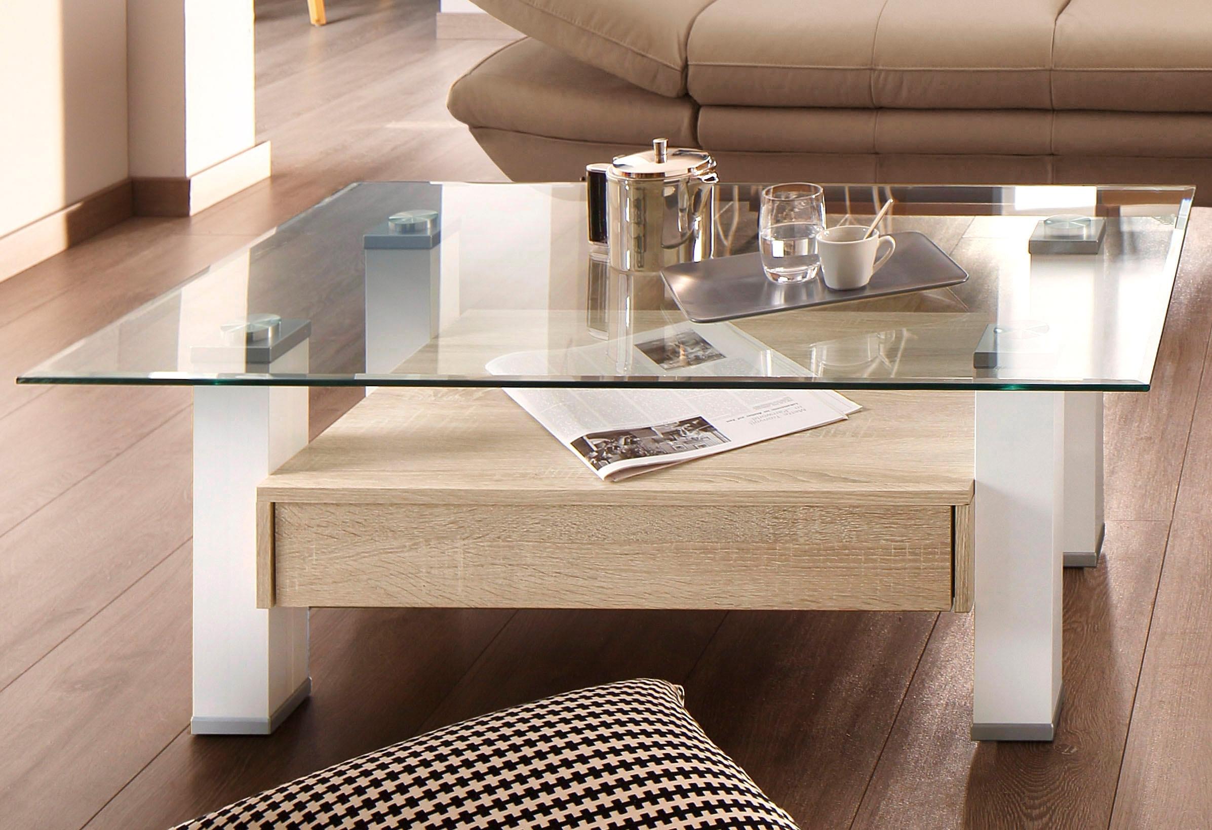Salontafel met lade en vensterglasplaat voordelig en veilig online kopen