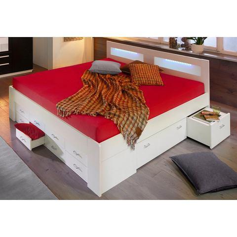 Bed met lade inzetten binnenveringsmatras wit 125780