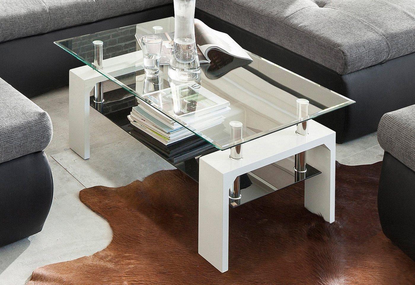 Salontafel met tafelblad van glas
