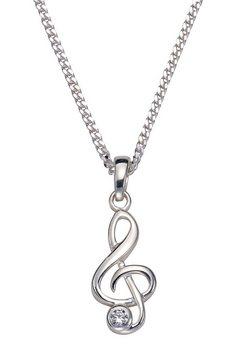 firetti ketting met hanger »muzieksleutel« met zirkoon zilver