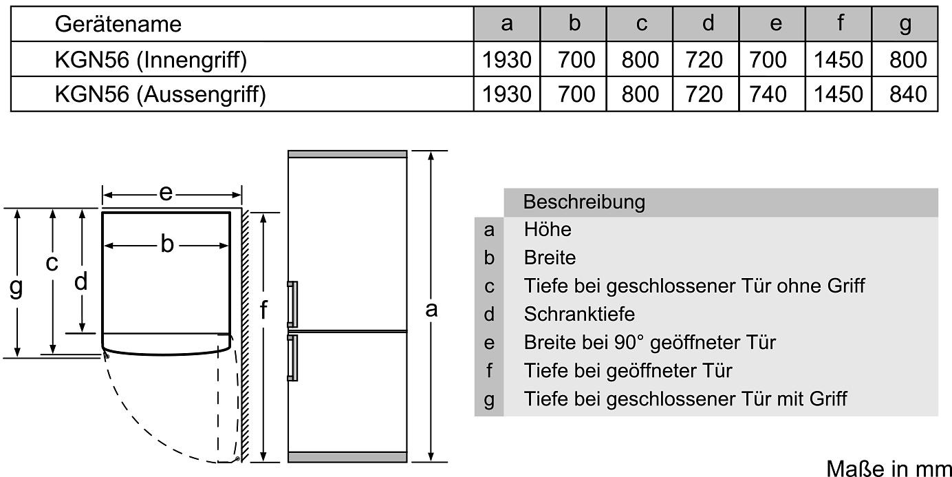 Bosch Koel Vriescombinatie Kgf56pi40 Energieklasse A Hoogte