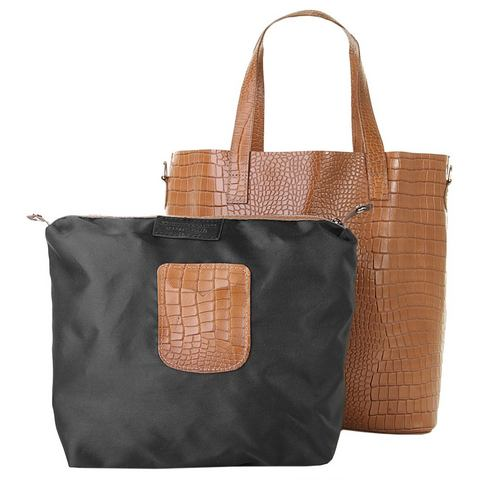 Samantha Look leren dames shopper krokoprint