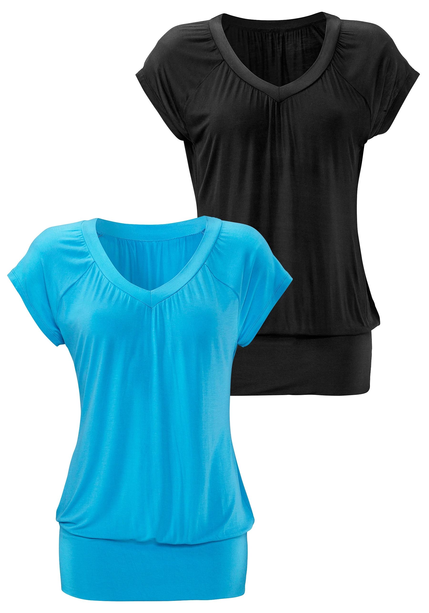 883bf7bfdf5d80 LASCANA shirt met V-hals en brede boord (set van 2) in de online ...