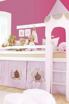"""hoppekids hoogslaper inclusief """"fairytale flower""""-gordijn, matras en rolbodem roze"""