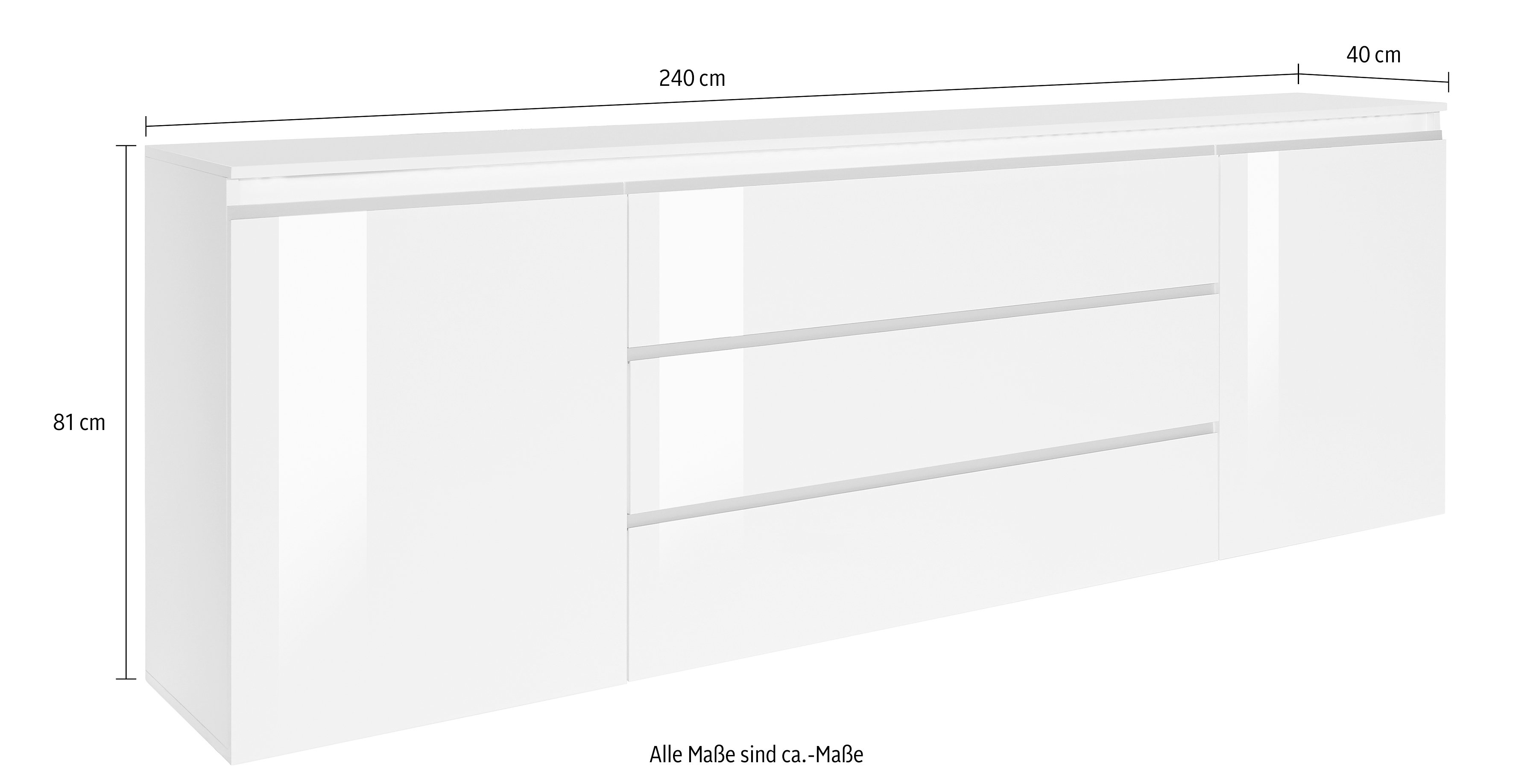 tecnos sideboard breedte 240 cm online shoppen otto. Black Bedroom Furniture Sets. Home Design Ideas