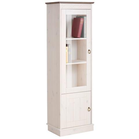 HOME AFFAIRE kast Indra 1-deurs hoogte 145 cm wit grijs vitrinekast 487